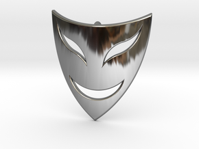 Drama Mask Pendant - Happy  in Fine Detail Polished Silver