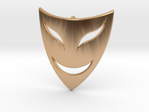Drama Mask Pendant - Happy  in Polished Bronze