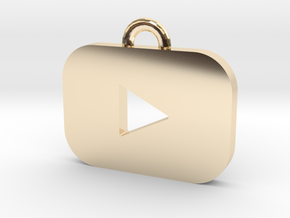 Youtube logo all materials necklace keychain gift in 14k Gold Plated Brass