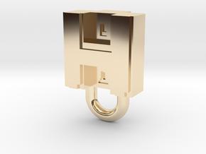 Puma Punku H-block Pendant 1,5cm in 14k Gold Plated Brass