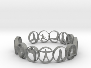 Yoga bangle with 14 poses 63.7 mm in Gray PA12