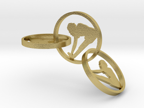 yoga jewelry - earring (1) in Natural Brass (Interlocking Parts)