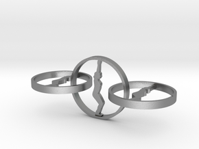 yoga jewelry - earring  in Natural Silver (Interlocking Parts)
