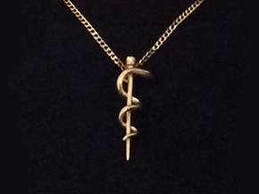 Snake rod pendant (medicine) in Natural Bronze