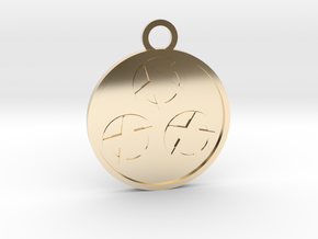 Three of Pentacles in 14k Gold Plated Brass