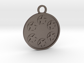 Six of Pentacles in Polished Bronzed-Silver Steel