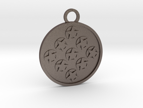 Nine of Pentacles in Polished Bronzed-Silver Steel