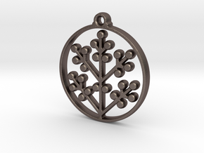 Floral Pendant II in Polished Bronzed-Silver Steel