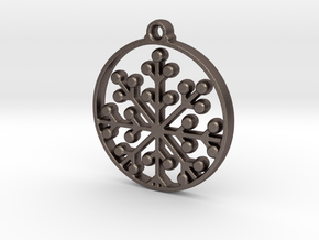 Floral Pendant VII in Polished Bronzed-Silver Steel