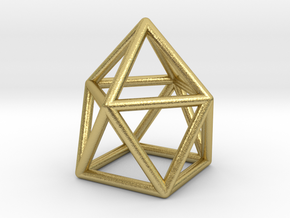 0746 J10 Gyroelongated Square Pyramid (a=1cm) #1 in Natural Brass