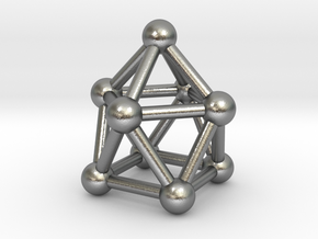 0748 J10 Gyroelongated Square Pyramid (a=1cm) #3 in Natural Silver