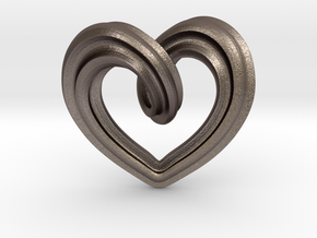 Heart Pendant Type A in Polished Bronzed-Silver Steel: Medium