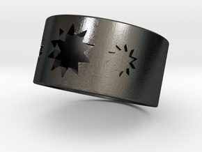 P O W E R  Cigar Ring - Men's in Polished and Bronzed Black Steel: 8 / 56.75