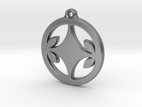 Diamond Leaf Pendant in Natural Silver