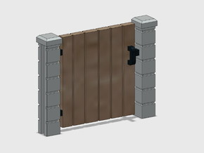 Block Wall - Wooden Man Gate-1 in Smooth Fine Detail Plastic: 1:87 - HO