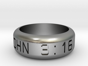 JOHN 3:16 Size 9 1/2 in Natural Silver