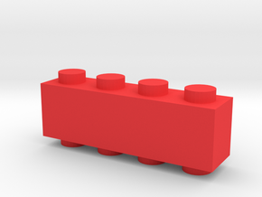 Custom LEGO-inspired brick 4x1 in Red Processed Versatile Plastic