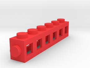 Custom LEGO-inspired brick 6x1 in Red Processed Versatile Plastic