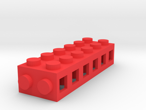 Custom brick 6x2 for LEGO in Red Processed Versatile Plastic