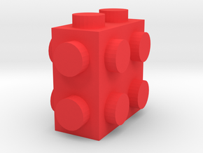 Custom LEGO-inspired brick 2x1x2 in Red Processed Versatile Plastic