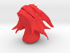 Dragon Head in Red Processed Versatile Plastic: Medium