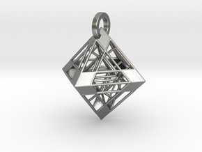 Octahedron Pendant in Natural Silver