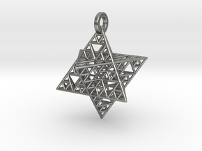 Sierpinski Merkaba Pendant in Natural Silver