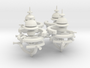 5 Small Defense Space Station 4x in White Natural Versatile Plastic