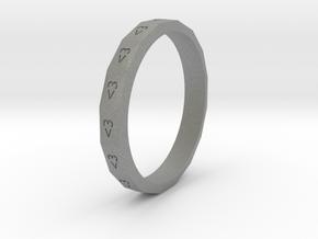Digital Heart Ring 3 in Gray PA12