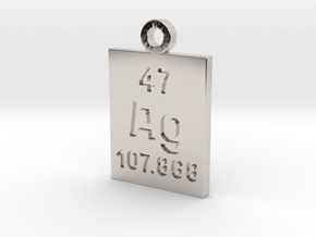 Ag Periodic Pendant in Rhodium Plated Brass