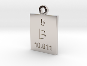 B Periodic Pendant in Rhodium Plated Brass