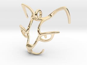 Cat Head Pendant in 14K Yellow Gold