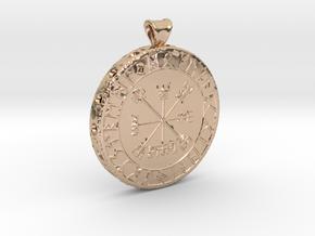 Icelandic Vegvisir Pendant in 14k Rose Gold