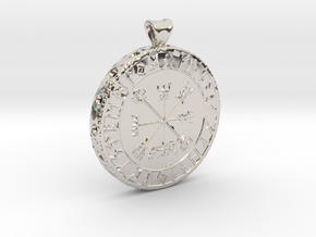 Icelandic Vegvisir Pendant in Rhodium Plated Brass