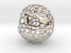Voronoi Daruma Doll in Rhodium Plated Brass