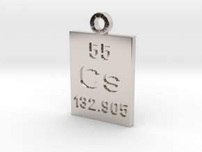 Cs Periodic Pendant in Rhodium Plated Brass