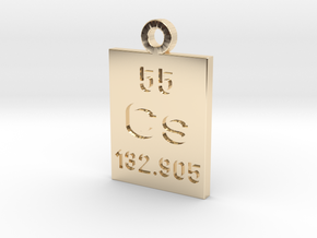 Cs Periodic Pendant in 14k Gold Plated Brass