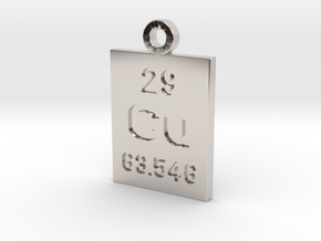Cu Periodic Pendant in Rhodium Plated Brass