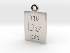 Ds Periodic Pendant in Rhodium Plated Brass