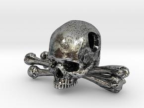 Skull and Crossbones Pendant in Antique Silver