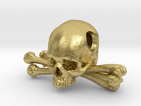 Skull and Crossbones Pendant in Natural Brass