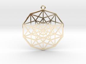 5D Hypercube in 14k Gold Plated Brass