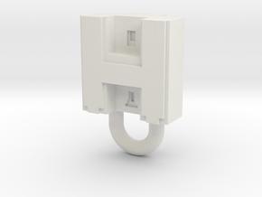 Puma Punku H-block Pendant 1,5cm in White Natural Versatile Plastic