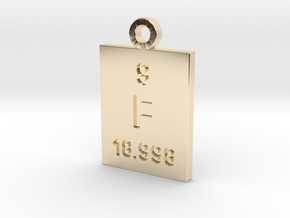 F Periodic Pendant in 14k Gold Plated Brass
