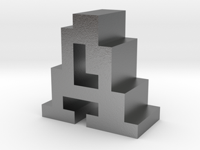 """""""A"""" inch size NES style pixel art font block in Natural Silver"""