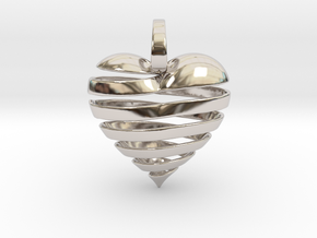 Ribbon Heart Pendant in Rhodium Plated Brass