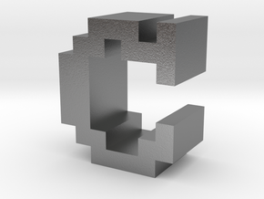 """""""C"""" inch size NES style pixel art font block in Natural Silver"""