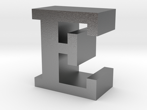 """""""E"""" inch size NES style pixel art font block in Natural Silver"""