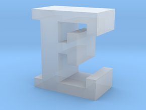 """E"" inch size NES style pixel art font block in Smooth Fine Detail Plastic"
