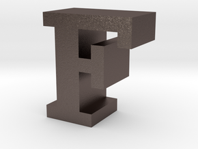 """F"" inch size NES style pixel art font block in Polished Bronzed-Silver Steel"